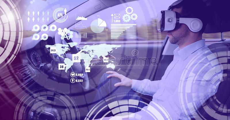 Man driving in car with heads up display interface and virtual reality headset stock image