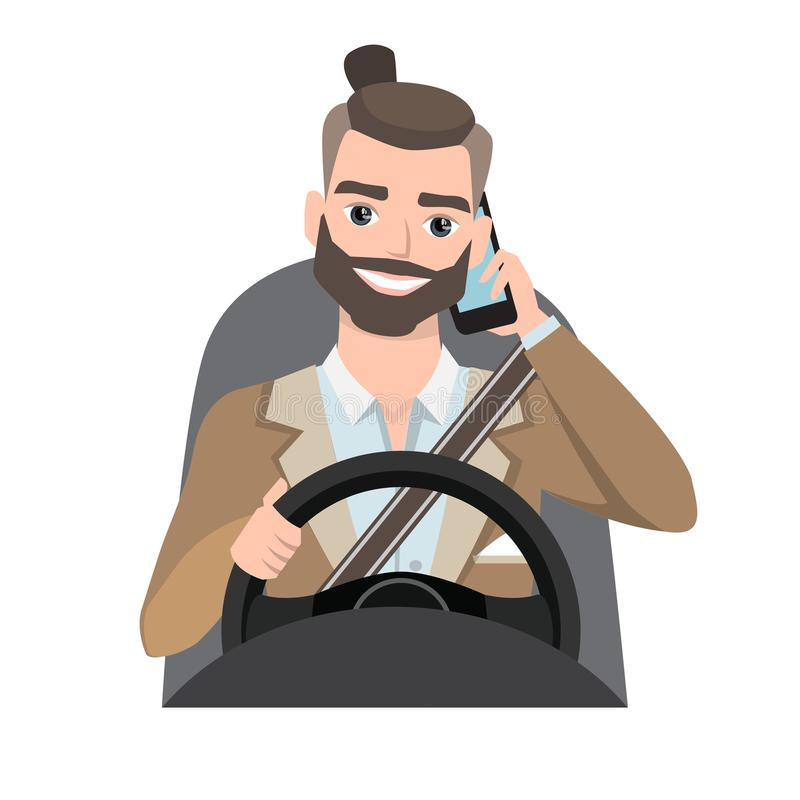 Man driving a car talking on the phone. Vector cartoon character vector illustration