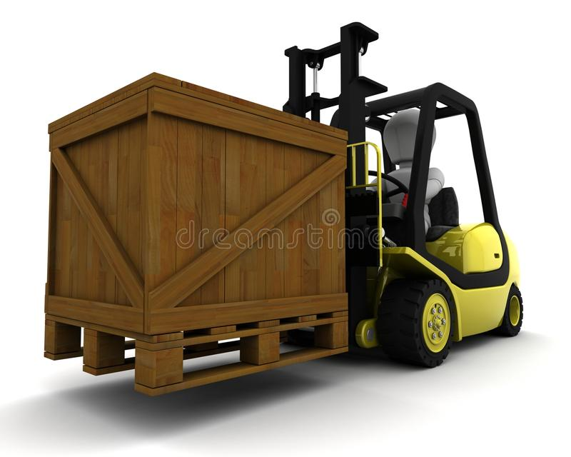 Download Man Driving Fork Lift Truck Isolated On White Stock Illustration - Image: 20036754
