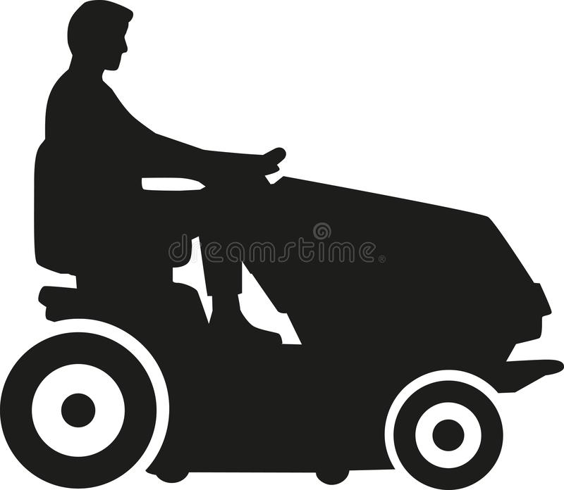 Man driving lawn mower. Vector vector illustration
