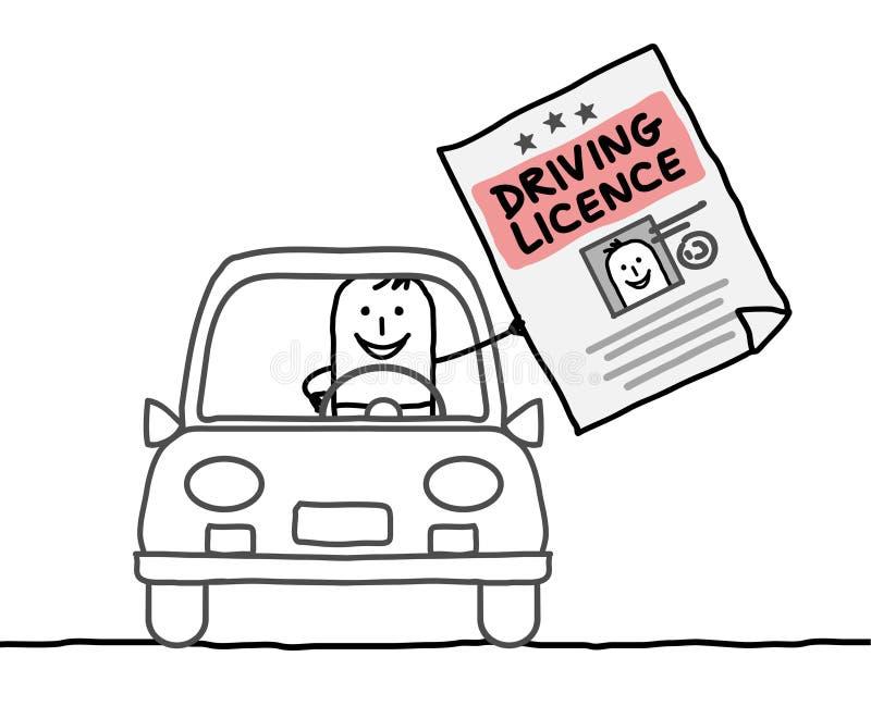 Man & driving licence royalty free illustration