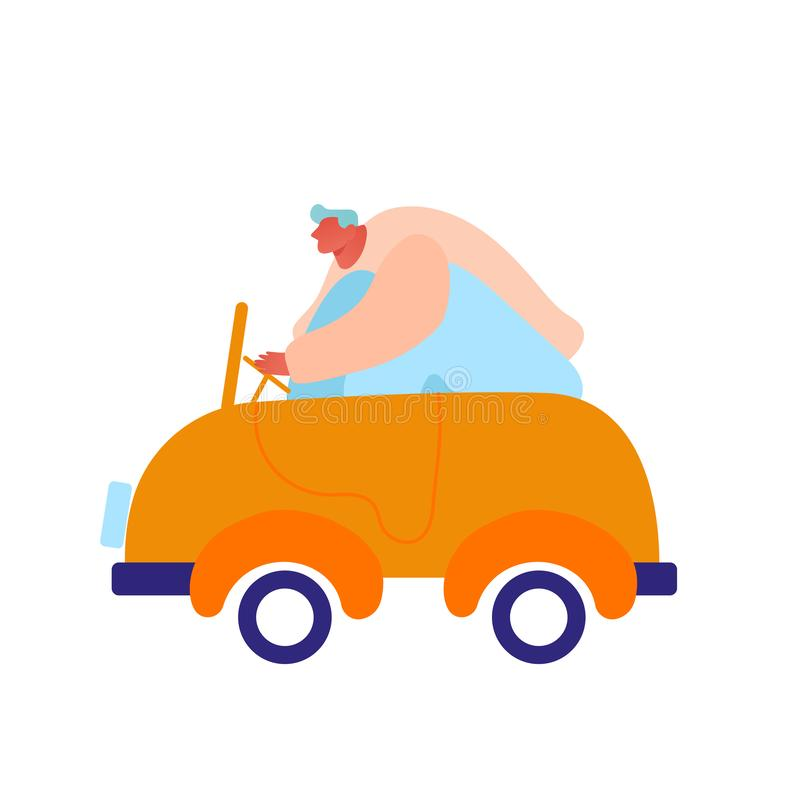 Man Driving Little Baby Toy Car Isolated on White background. Male Character Playing with Plaything for Children vector illustration