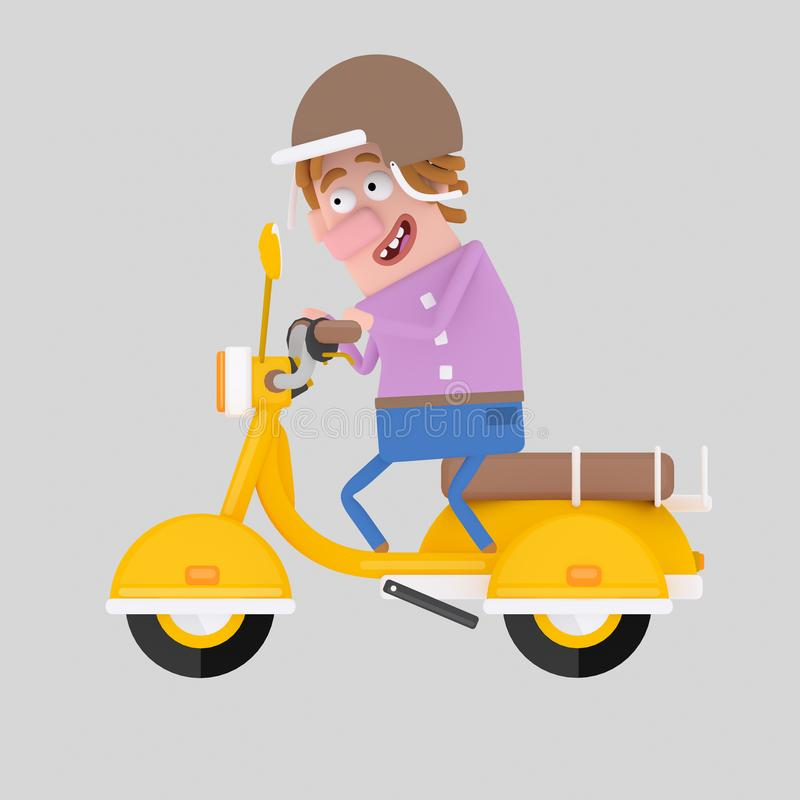 Man driving motorcycle. 3D stock illustration