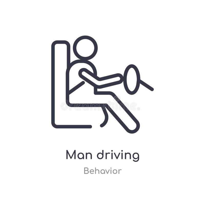 man driving outline icon. isolated line vector illustration from behavior collection. editable thin stroke man driving icon on royalty free illustration