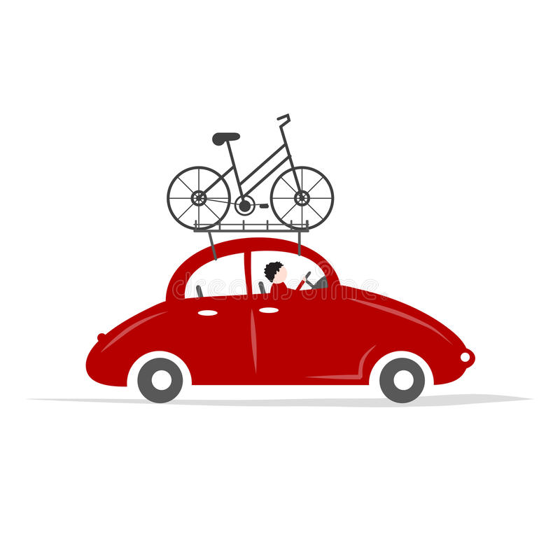 Man driving red car with bike on the roof rack. Vector illustration vector illustration