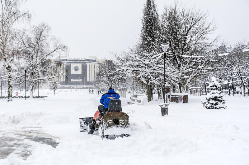 Download Man Driving  Snow Removal Machine In Sofia,Bulgaria Editorial Photo - Image: 83719431