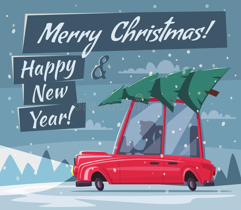 Man Drives An Old Car With Christmas Tree On The Roof Cartoon Vector Illustration Merry And Happy New Year Winter Forest Retro Style