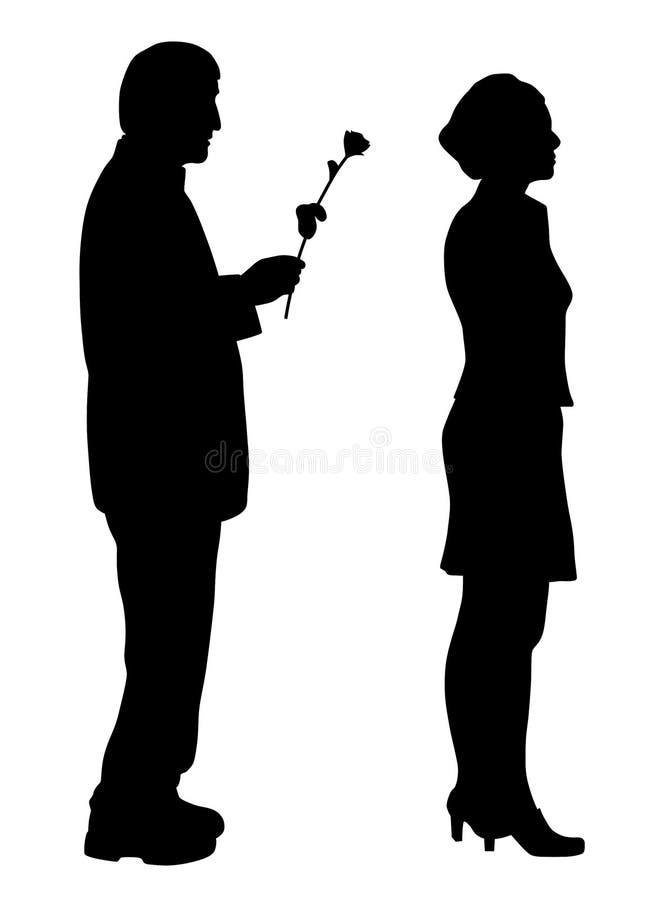 Man droevig zeggen en geven namen tot beledigde vrouw toe vector illustratie