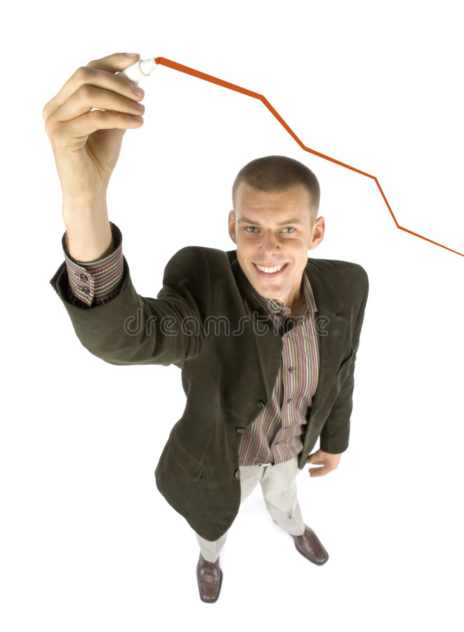Man drowing growing chart. Business concept stock images