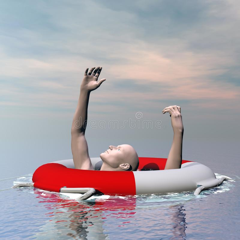 Man drowning - 3D render royalty free illustration