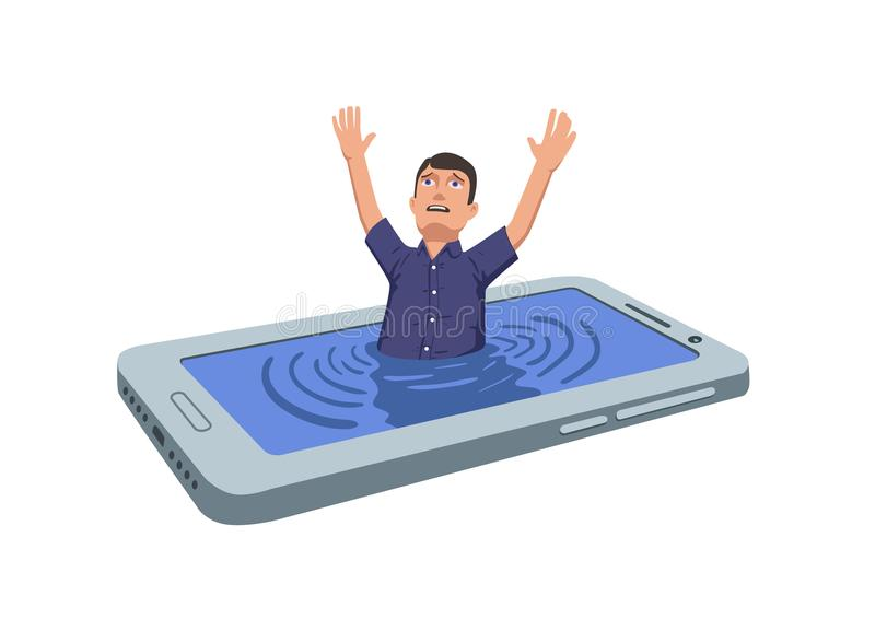 Man drowning in smartphone and crying out for help. Phone addiction, information dependence. Flat vector illustration royalty free illustration