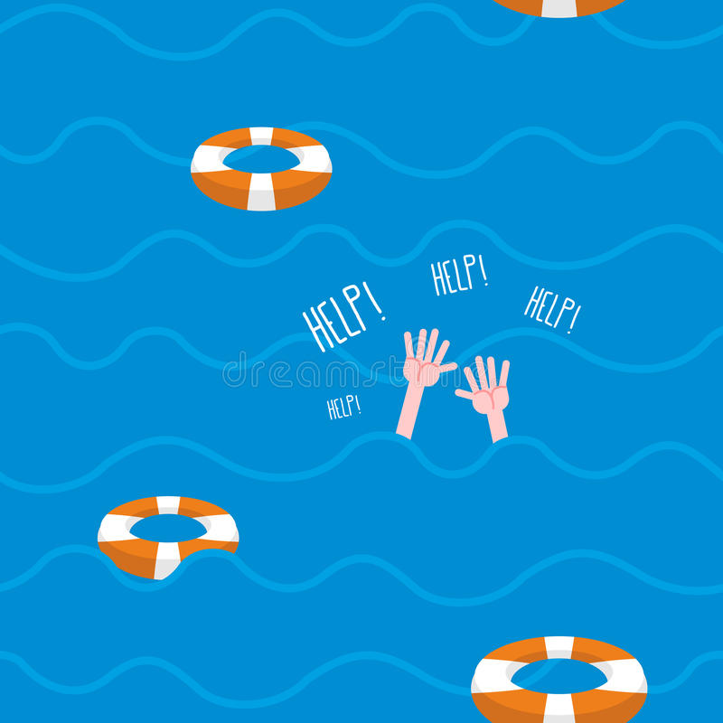 Man drowns seamless pattern. Lifebuoy on waves of sea. Texture. Of sinking man raised his hands and screams-Help. Hands protrude from water vector illustration
