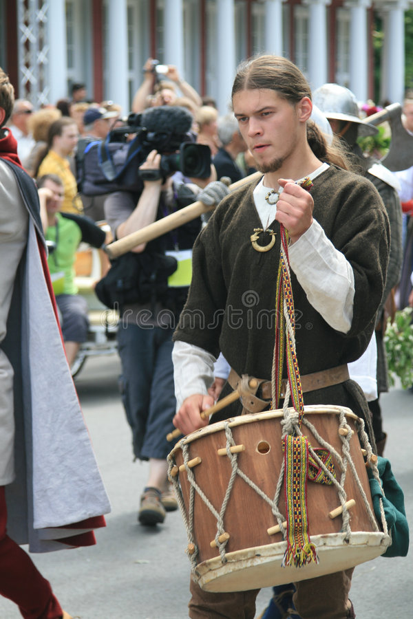Man with drum. Latvian Nationwide Song and Dance Celebration in Riga 2008 5.-12. July Latvia stock photos