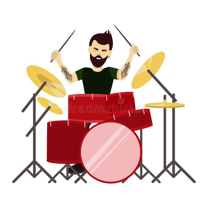 man drummer. vector illustration