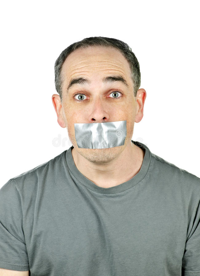 Download Man With Duct Tape On Mouth Stock Photo - Image of covered, caucasian: 13993038