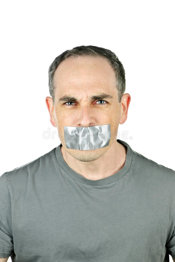 Download Man With Duct Tape On Mouth Stock Image - Image: 14089385