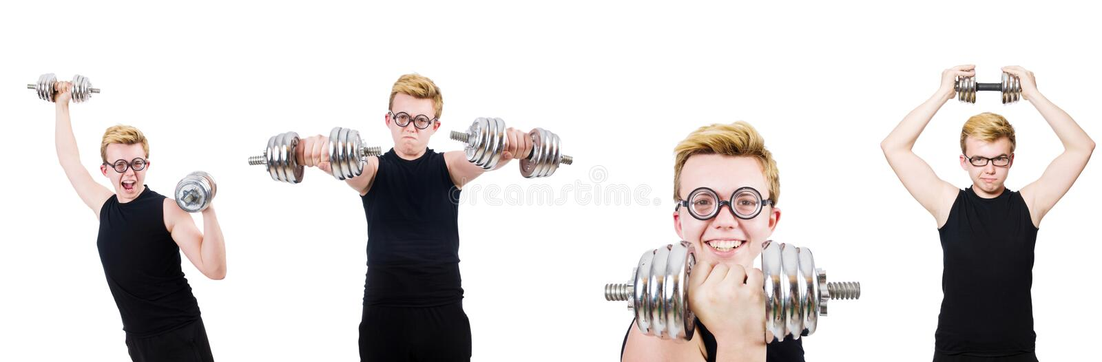 The man with dumbbells isolated on white. Man with dumbbells isolated on white stock photography