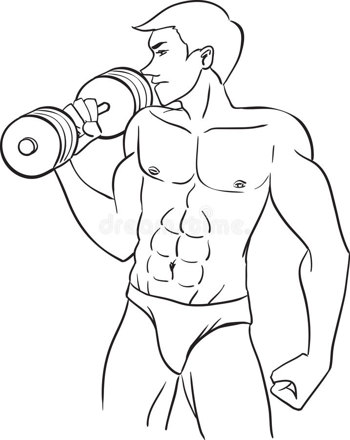 Man with dumbbells stock illustration
