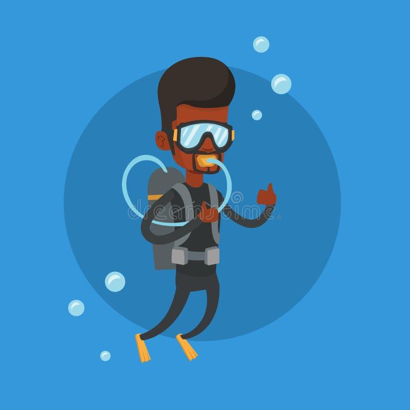 Man dykning med dykapparaten och visningtummen upp royaltyfri illustrationer