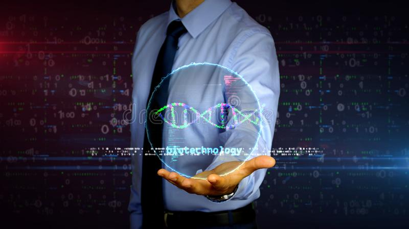 Businessman with biotechnology and DNA helix hologram. Man with dynamic biotechnology and DNA helix hologram on hand. Businessman and futuristic concept of royalty free stock images