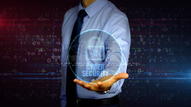 Businessman with cyber security hologram. Man with dynamic cyber security and padlock symbol hologram on hand. Businessman showing futuristic concept of digital royalty free stock images