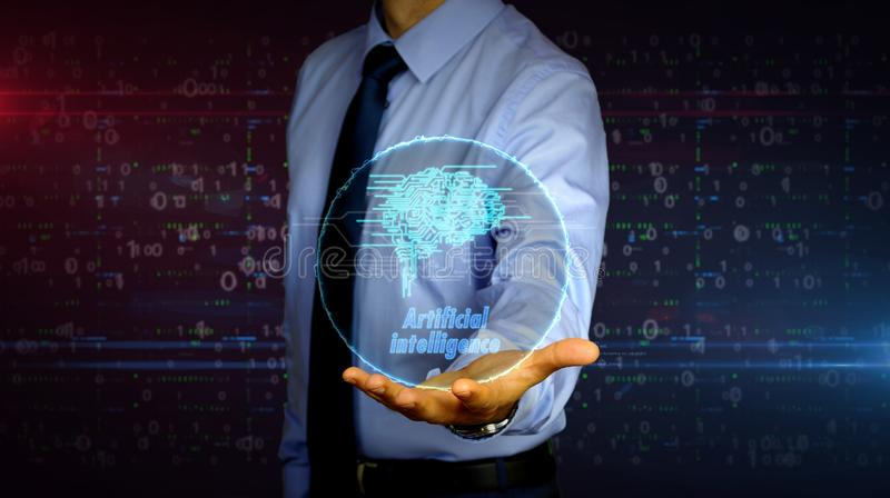 Businessman with cybernetic brain symbol hologram. Man with dynamic cybernetic brain symbol hologram on hand. Businessman and futuristic concept of artificial stock photos