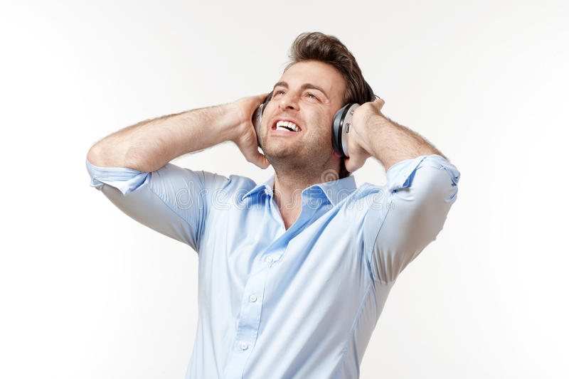 Man with earphones royalty free stock photo