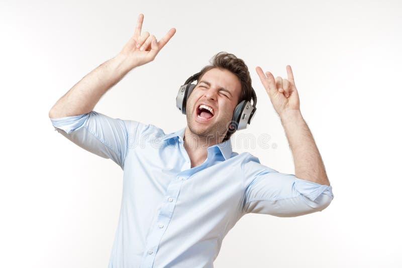 Man with earphones stock photos
