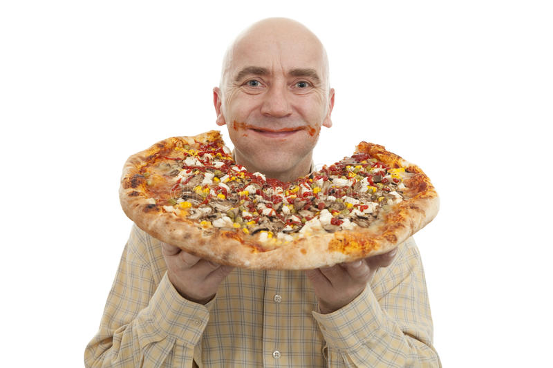 Download Man eat pizza stock image. Image of meat, unhealthy, dish - 22065945