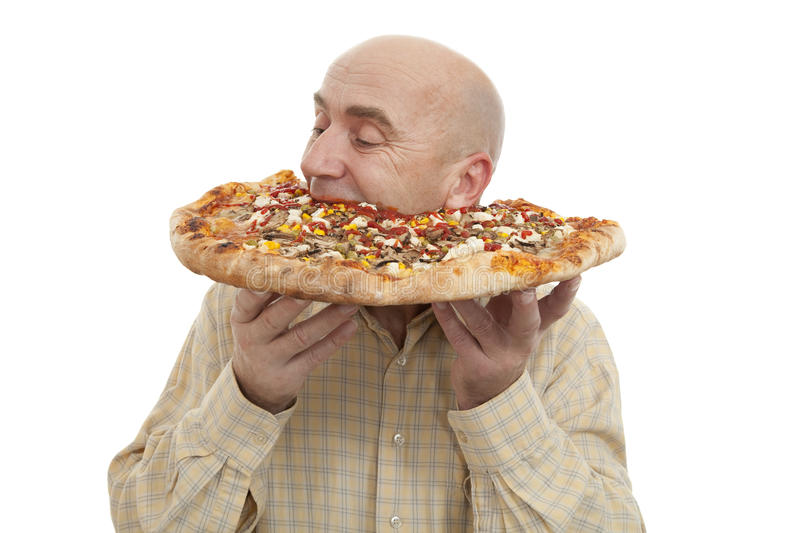 Man eat pizza. Glutton eat big pizza on white background royalty free stock images