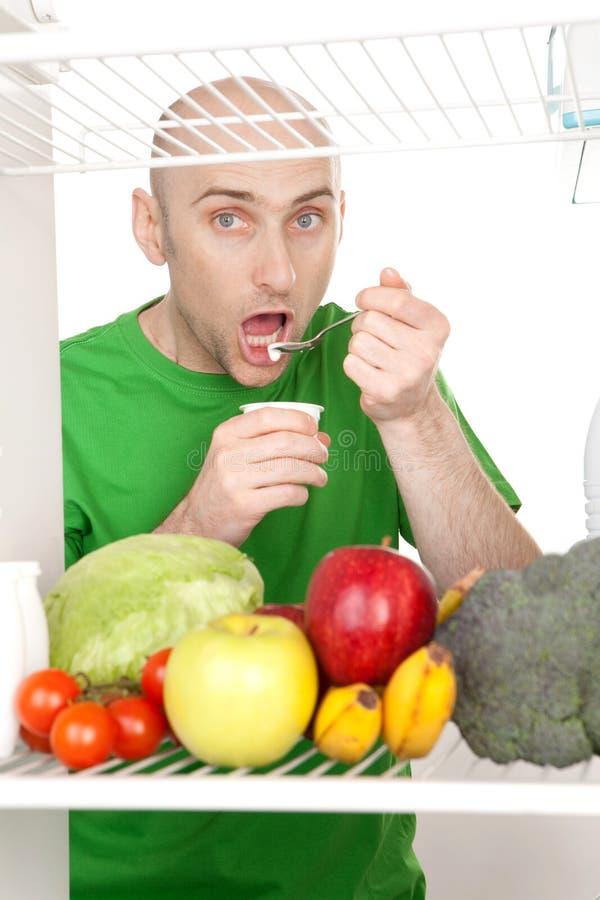Man eating stock image