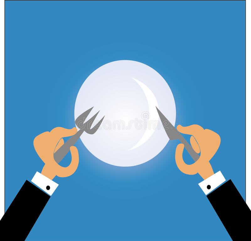 Man eating with fork and knife royalty free illustration