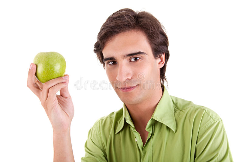Download Man eating a green apple stock image. Image of happiness - 13960325