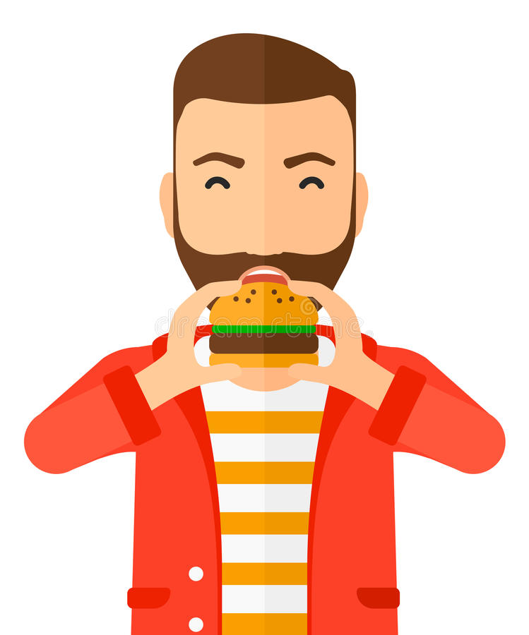 Man eating hamburger stock illustration