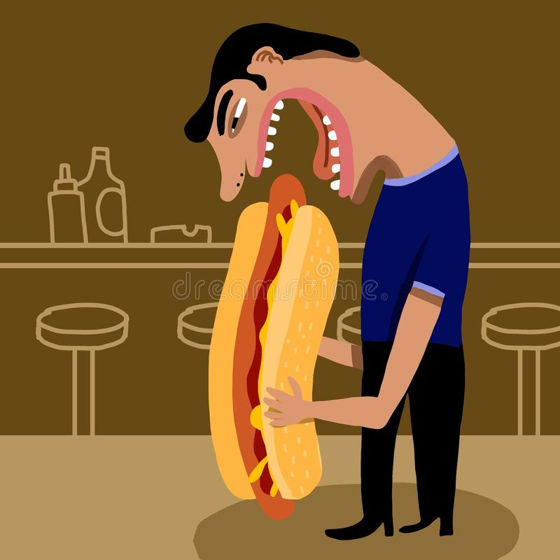 Man eating a hot dog stock image