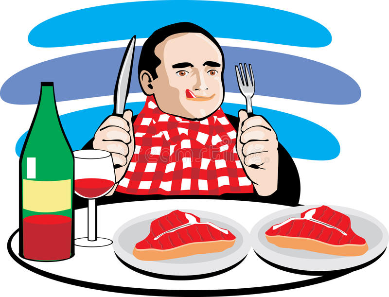 Man eating meat and drinking wine stock illustration
