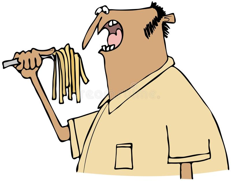 Download Man eating pasta stock illustration. Image of utensil - 40803038