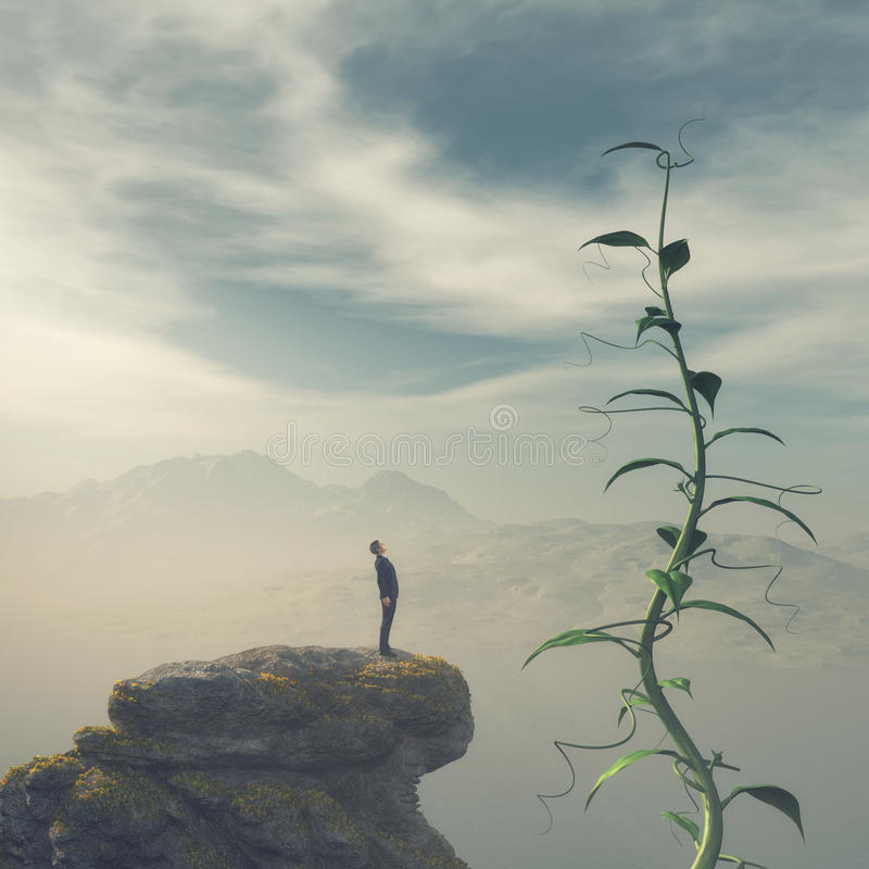 Man on the edge of a cliff royalty free stock images