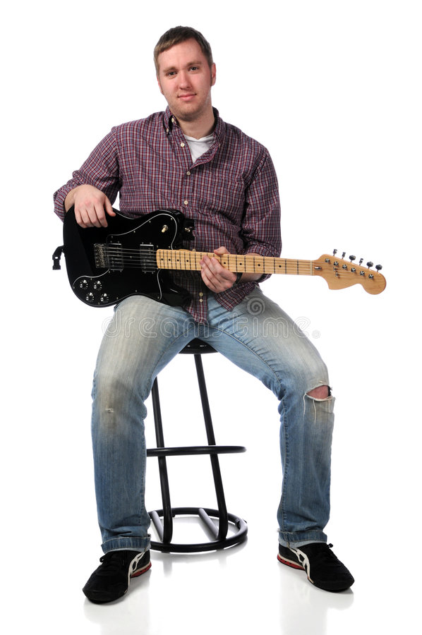 man with electric guitar stock photo image of play steel 8787030. Black Bedroom Furniture Sets. Home Design Ideas
