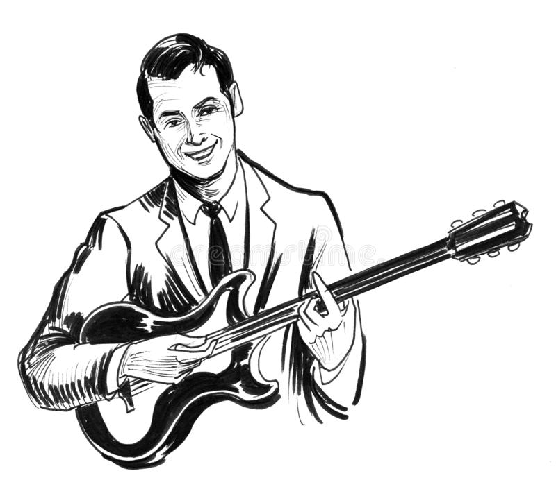 Man and electric guitar vector illustration