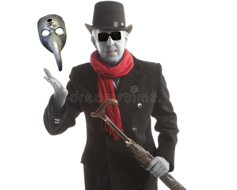 Elegant man in the image of a modern devil royalty free stock image