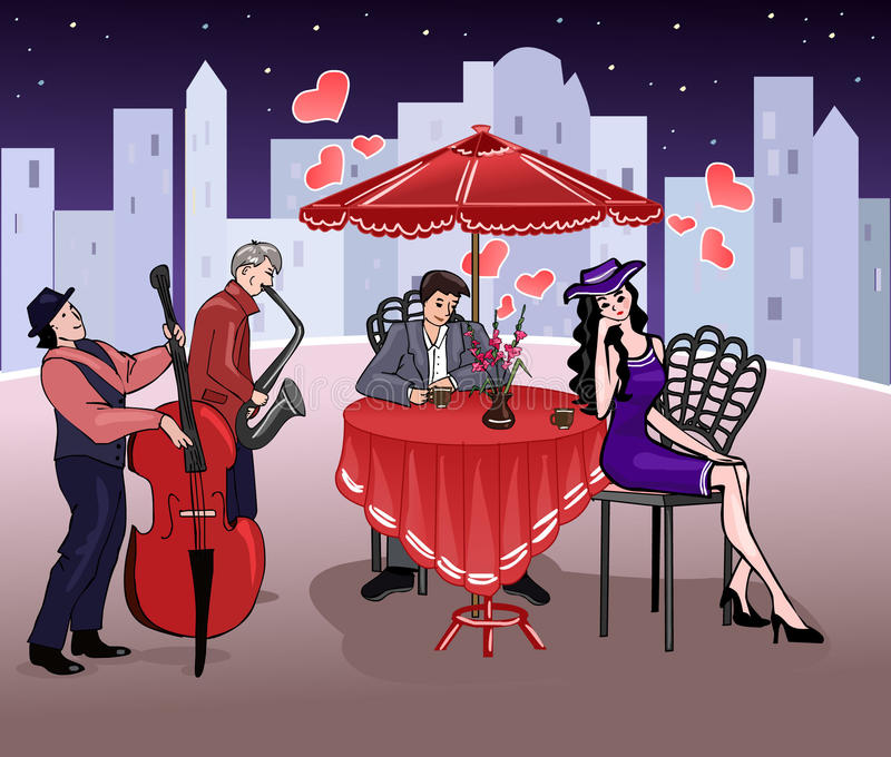 Man and elegant woman in a summer cafe. Romantic date. Mutual feelings. Couple in love. Street musicians. Vector royalty free illustration