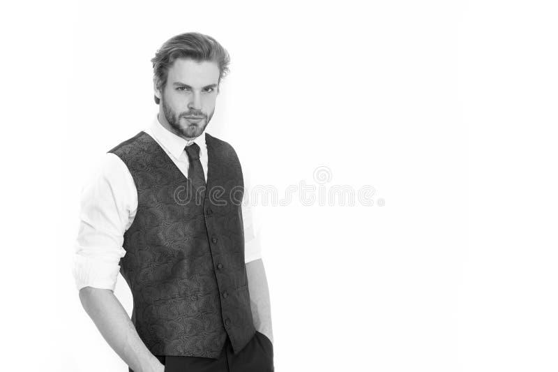 Man eller allvarlig gentleman i waistcoat och band royaltyfri foto