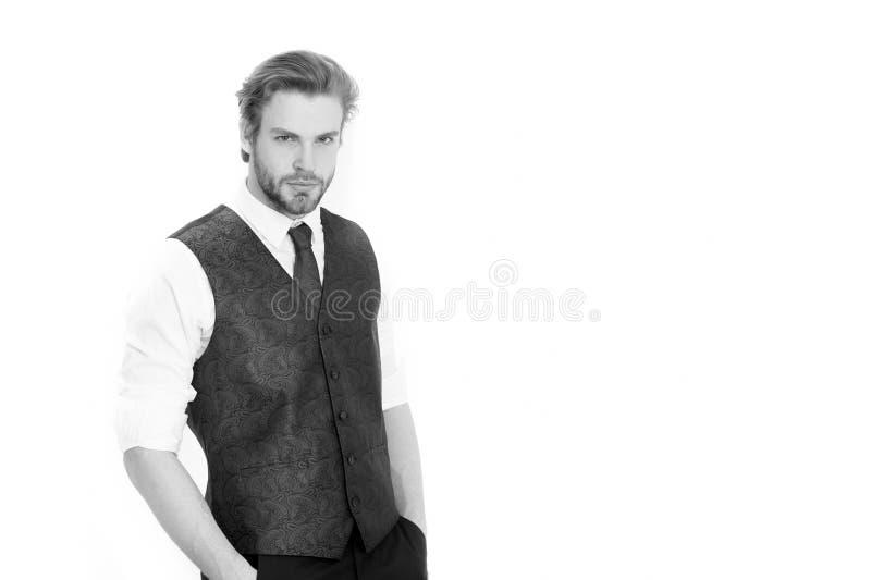 Man eller allvarlig gentleman i waistcoat och band arkivbild