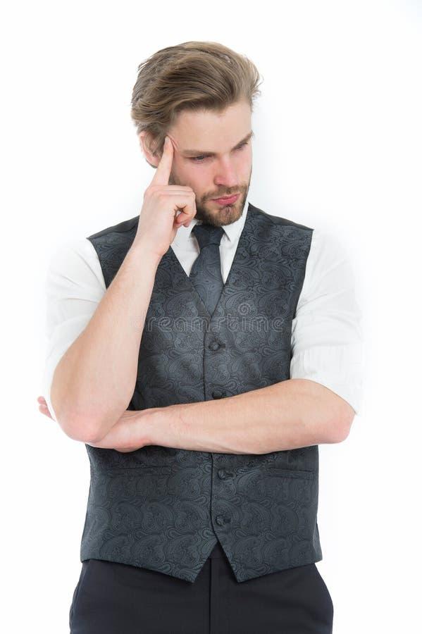 Man eller den tänkande gentlemannen i waistcoat och bind royaltyfri fotografi