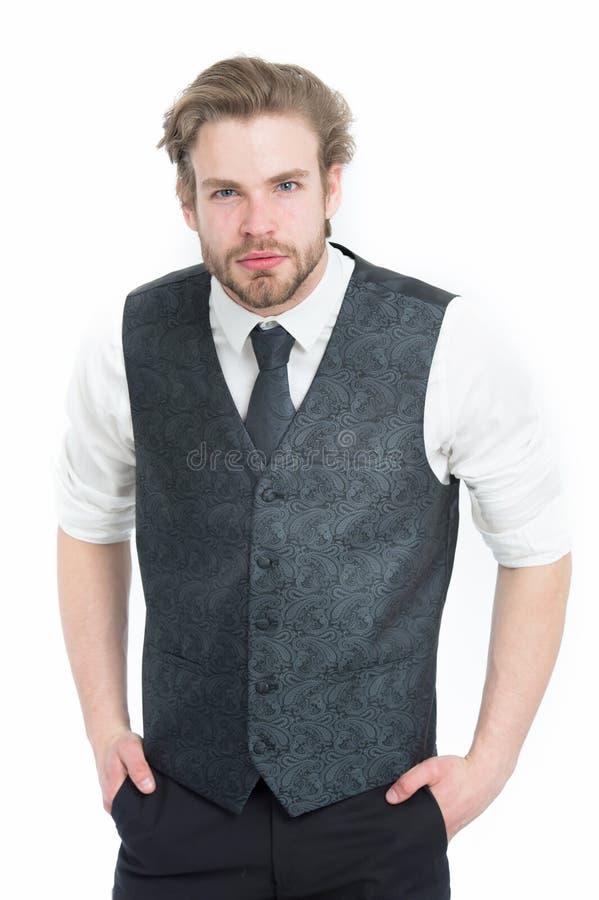 Man eller säker gentleman i waistcoat och band arkivfoto