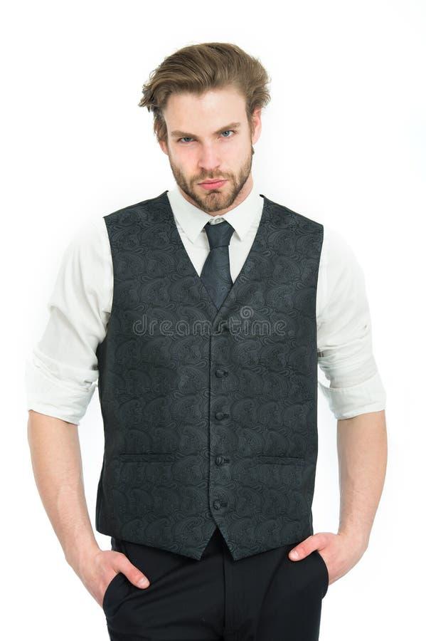 Man eller säker gentleman i waistcoat och band fotografering för bildbyråer