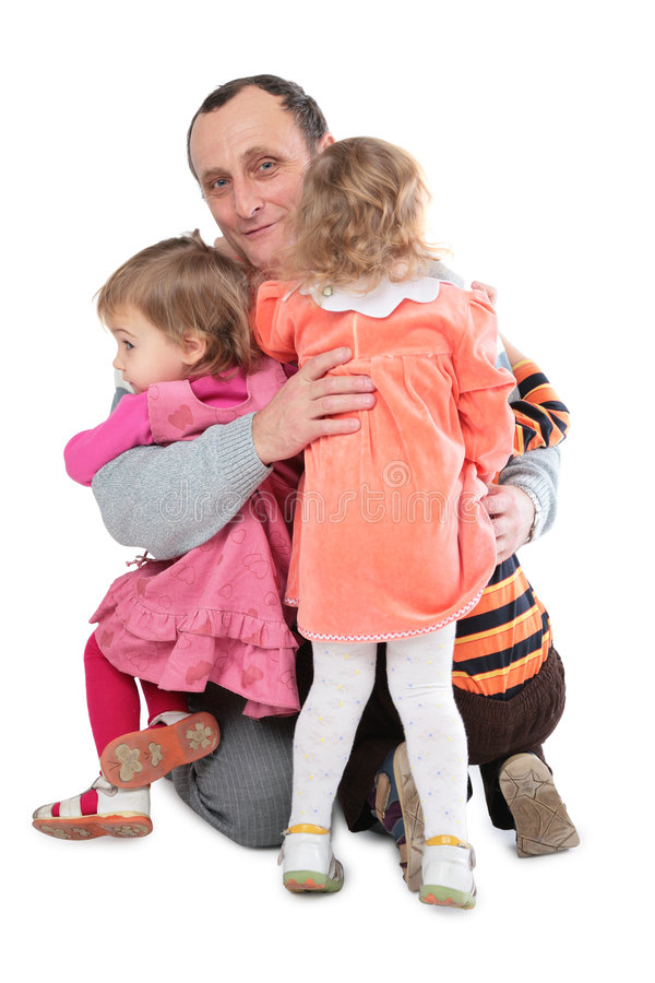 Download Man embrace three kids stock photo. Image of love, girl - 5225590