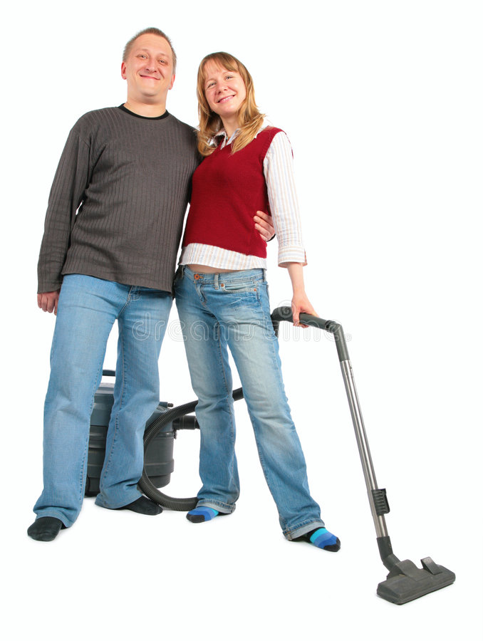 Man Vacuum Cleaning Woman Working Stock Image Image Of