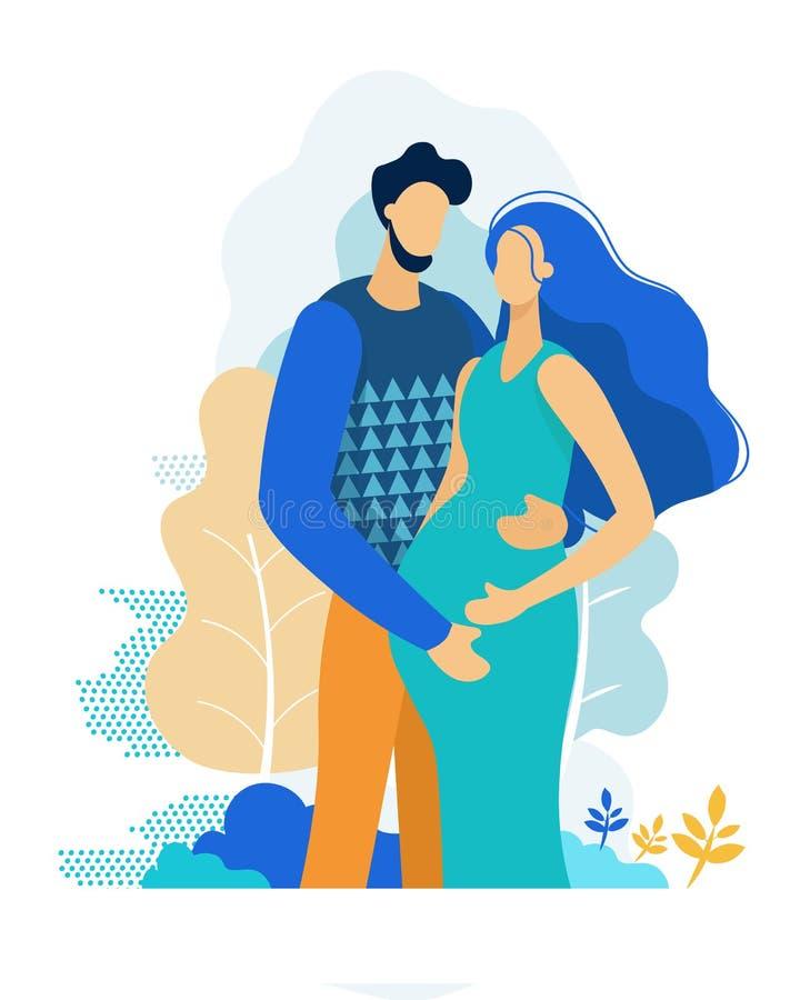 Man Embracing Pregnant Woman. Happy Parents Couple stock illustration